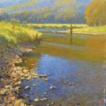 plein air painting of man fishing on Jackson River by North Carolina artist Jeremy Sams