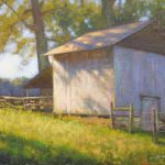 plein air painting of tobacco barn wilkes county by North Carolina artist Jeremy Sams