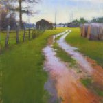 plein air painting of eastern north carolina farm after the rain