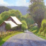 barn on dirt road in Virginia plein air painting