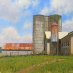 plein air painting of barn and siloh in Virginia by North Carolina artist Jeremy Sams