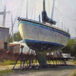 plein air painting of boat docked for repair by North Carolina artist Jeremy Sams