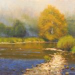 plein air painting of fog rising on Jackson River Virginia by North Carolina artist Jeremy Sams