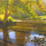 plein air painting of evening on Jackson River by North Carolina artist Jeremy Sams