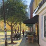 plein air painting of lady walking down street in Hillsborough NC by North Carolina artist Jeremy Sams