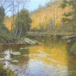 plein air painting of Watauga River in autumn by North Carolina artist Jeremy Sams