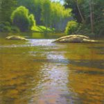 plein air painting of Toe River reflections by North Carolina artist Jeremy Sams