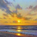 sunrise painting of beach with ocean waves and light by North Carolina artist Jeremy Sams