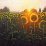 painting of sunflowers at sunrise near Salisbury, North Carolina by North Carolina artist Jeremy Sams