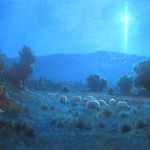 Jesus birth with shepherds and sheep at night looking at the star of Bethlehem church mural painting by North Carolina artist Jeremy Sams