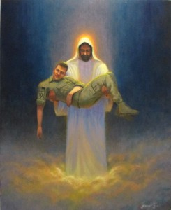 portrait of Jesus Christ holding fallen soldier in His arms painted by North Carolina artist Jeremy Sams