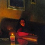 painted portrait of lady in dark with candle light by North Carolina artist Jeremy Sams