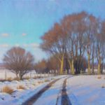 acrylic painting of snow trees and a road in the country