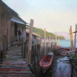 Painting of fishing docks in Kawthaung Myanmar by North Carolina artist Jeremy Sams