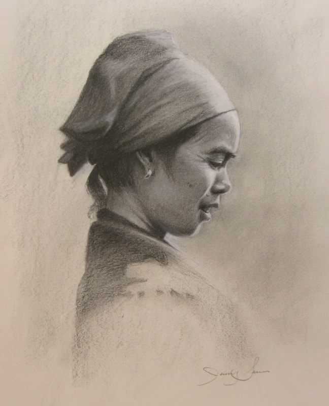 Charcoal portrait of Asian Lady
