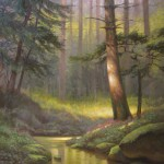 Painting of eastern hemlock in valley with a creek and indian pink in the forest of North Carolina mountains by North Carolina artist, Jeremy Sams