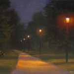 plein air painting at night at Creekside Park, Archdale, NC