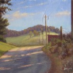 plein air painting looking up worth mcneil rd. in Fleetwood NC in the fall by North Carolina artist, Jeremy Sams