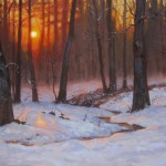 evening snow painting by North Carolina artist, Jeremy Sams