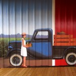 Lenoir County farmer's market mural, Kinston NC. Close up of lady carrying vegetables with early model Ford truck by North Carolina artist, Jeremy Sams