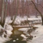 creek snow plein air painting