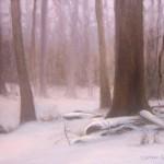 Snowfall in the Forest 8x10 acrylic en plein air
