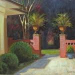 Charlotte garden tour plein air painting queens rd. by North Carolina artist, Jeremy Sams