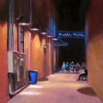 Boiler Room competition winner plein air painting at night in Kinston by North Carolina artist Jeremy Sams