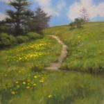 Appalachian Trail at Roan Mountain plein air painting 10x8 acrylic