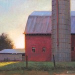 plein air painting of a barn and farm in the early morning by North Carolina artist Jeremy Sams