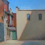 plein air painting of parking lot alley door Piedmont Paintout High Point NC by North Carolina artist Jeremy Sams