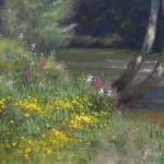 plein air painting of wildflowers on the New river
