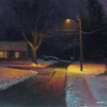 nocturne plein air painting in snow by North Carolina artist Jeremy Sams