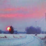 acrylic painting of a sunrise in the snow with tobacco barn in North Carolina by Jeremy Sams