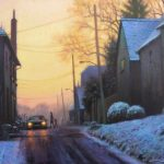 winter painting of street scene at sunset