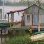 boat house dock with boy fishing plein air painting by North Carolina artist Jeremy Sams