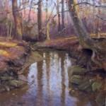 creek in winter plein air painting