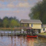 boat and dock plein air painting by North Carolina artist Jeremy Sams