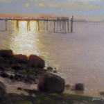 Morning plein air painting at Southport, NC of water, rocks and and pier