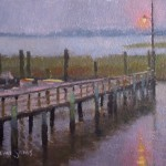 Rainy day in Southport, NC plein air painting of pier docks, light by North Carolina artist Jeremy Sams