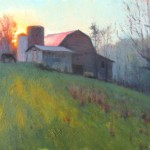 plein air painting of barn, horses and sunrise in Burnsville by North Carolina artist Jeremy Sams