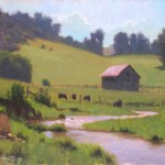 cows and barn with creek plein air painting by North Carolina artist Jeremy Sams