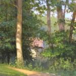 plein air painting of the walking trail at Reynolda Village in Winston Salem by North Carolina artist, Jeremy Sams