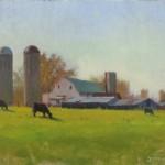 barn farm plein air painting by North Carolina artist Jeremy Sams