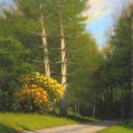 plein air painting of hemlock and azaleas by North Carolina artist Jeremy Sams