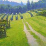 plein air painting of vineyard at Chateau Morrisette by North Carolina artist Jeremy Sams