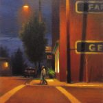 plein air nocturne painting of street scene in Floyd Virginia by North Carolina artist Jeremy Sams