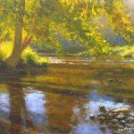 plein air painting of evening on Jackson River by North Carolina artist Jeremy Sams