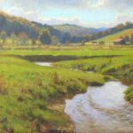 plein air painting of stream flowing through pasture in Ashe County in autumn by North Carolina artist Jeremy Sams