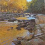 plein air painting of morning on the Eno River in Autumn by North Carolina artist Jeremy Sams